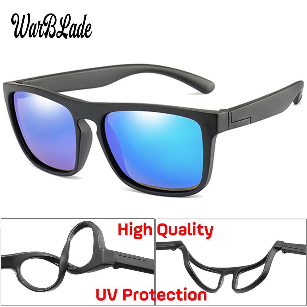 WBL Children Square Polarized Sunglasses Kids Silicone Safe TR90 Sun Glasses Girls Boys UV400 Coating Mirror Gafas de sol(China)