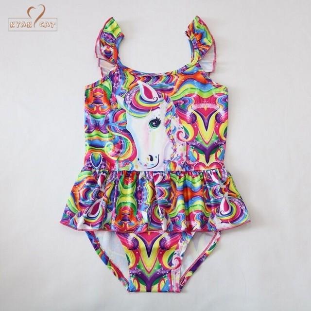 Retail New Unicorn baby girl Bikini one piece Kids girls swimsuit kid swimming Bathing Suit Swim Wear Children Girl Bikini