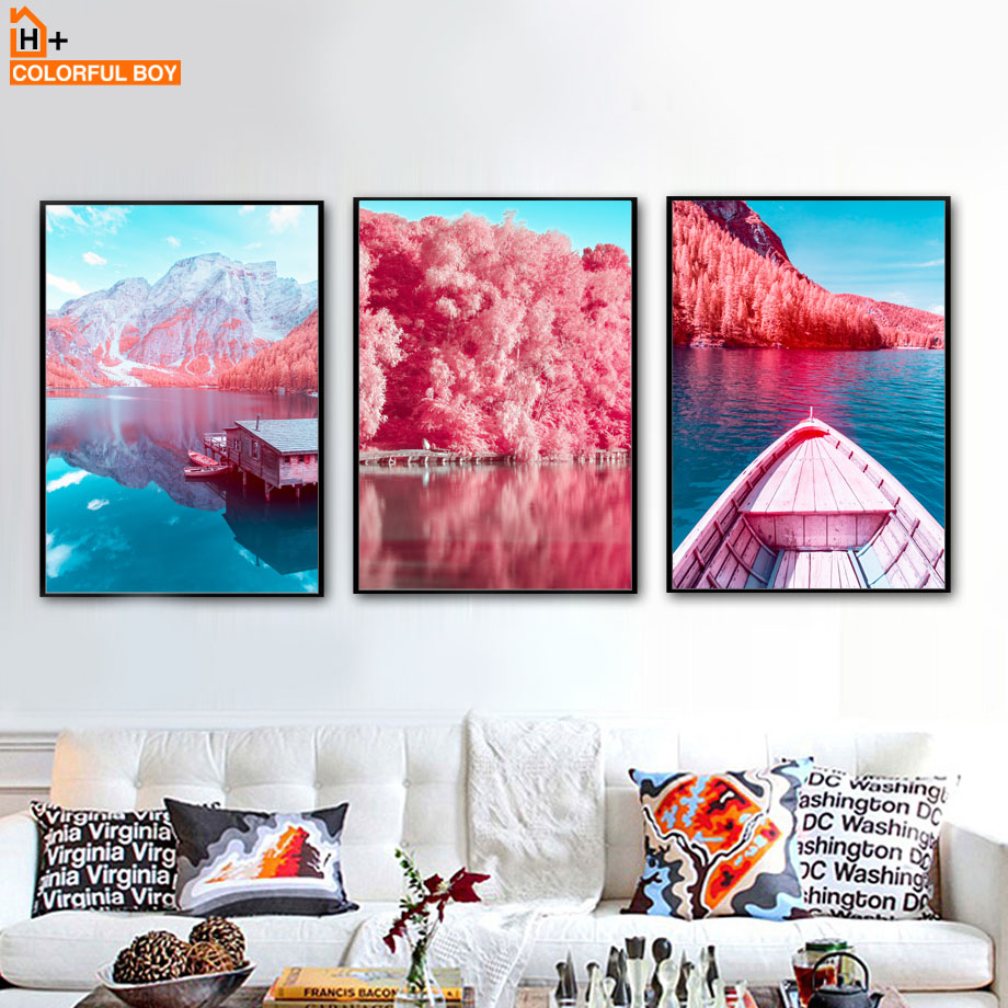 Wall Art Canvas Painting Pink Blue Mountain Tree Lake Boat House Nordic Posters And Prints Wall Pictures For Living Room Decor in Painting Calligraphy from Home Garden
