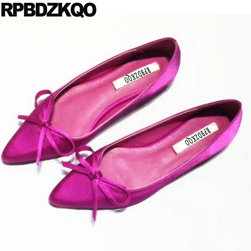 Women Flats Shoes With Little Cute Bowtie Ladies Peach Bow Satin China Spring Autumn Pointed Toe Chinese Slip On Beautiful casual shoes women office ladies shoes lady cute bow tie pointed toe flats female cute spring