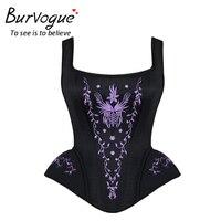 Burvogue Steampunk Corset Bustier Top With Straps Waist Control Corset Zipper Lace Up Corset Bustier Gothic