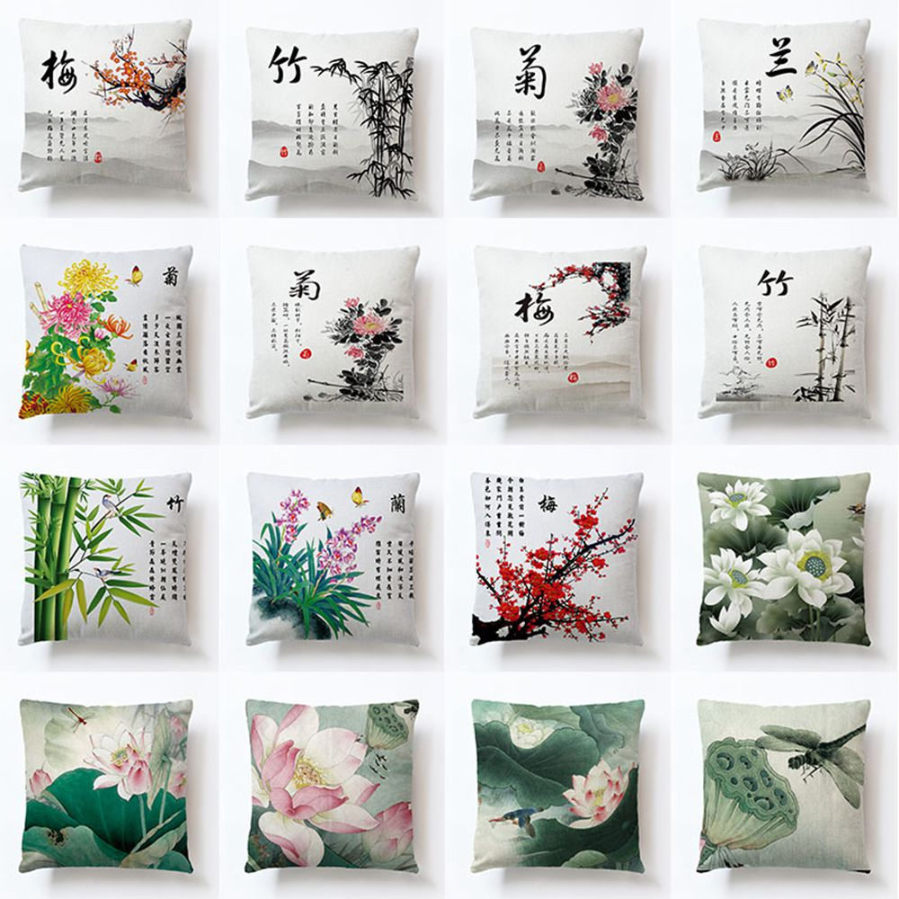 Chinese Style Bamboo Orchid Chrysanthemum Lotus Cotton Seat Cushion Office Car Sofa Home Decoration Cushion Cover Pillow Case