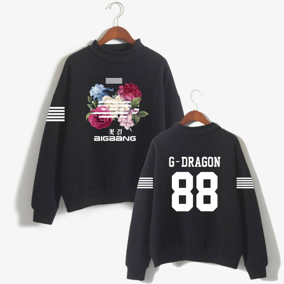 Kpop K-pop Korea <font><b>Bigbang</b></font> Flower Road Hoodie Sweatshirt Women Fashion <font><b>Bigbang</b></font> Female Fans Turtleneck Capless Sweatshirt Clothes image