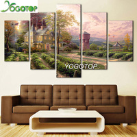 YOGOTOP DIY Diamond Painting Cross Stitch Kits Full Embroidery 5D Square Drill Mosaic Decor Landscape forest villa 5pcs ML559
