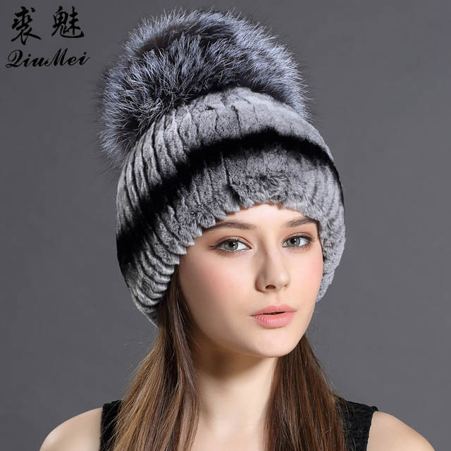 b527064f87e placeholder Fur Hat For Female With Luxury Fluffy Ball Russian Hats New  Cold Winter Genuine Rabbit Fur