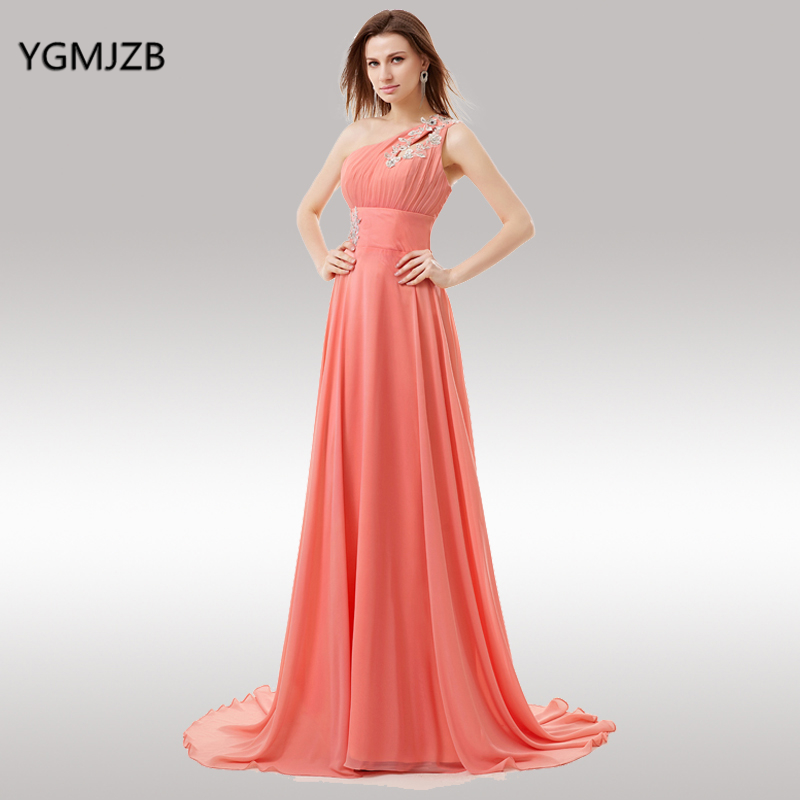 US $64.26 46% OFF|Plus Size Coral Bridesmaid Dresses Long 2018 A Line One  Shoulder Sleeveless Appliques Lace Chiffon Backless Wedding Party Dress-in  ...