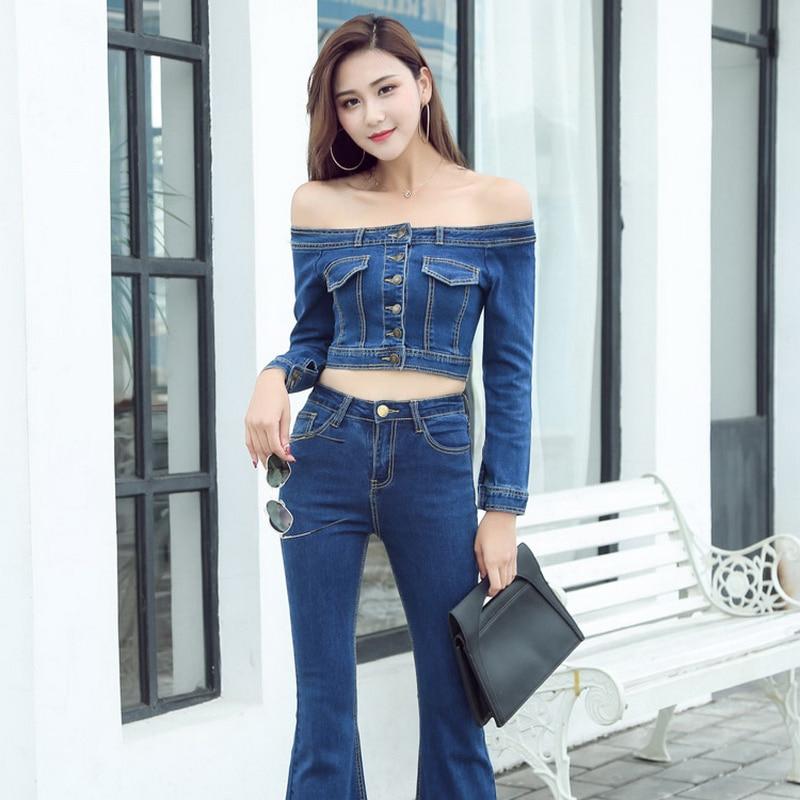 2018 New Women Basic Coat Denim Jackets Women Spring Denim Jacket For Women Off Shoulder Blue Denim Coat loose fit casual style