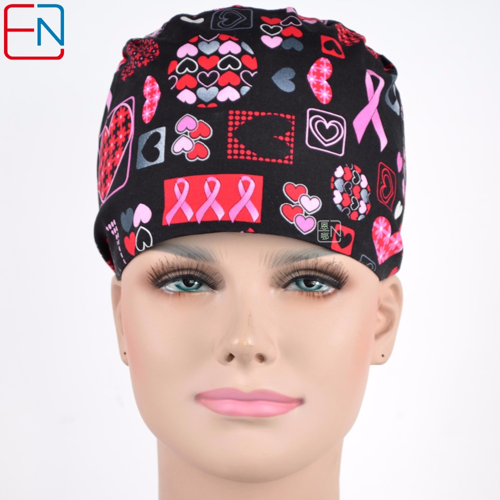 Women Surgical Caps In Black With Pink Ribbons