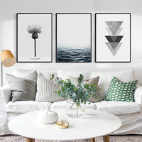Modern Minimalist Geometric Pattern Nordic Peceful Landscape Thistle Flower Art Canvas Print Wall Posters For Home