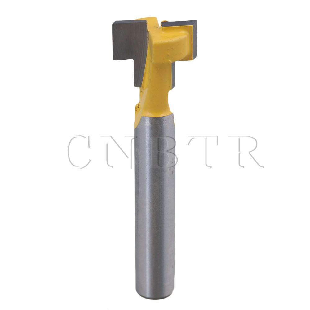 CNBTR Silver Yellow Carbide T-Slot Cutter Router Bit 1/4 Inch Shank 1/2 Inch Hex Bolt Heads Woodworking Carpentry Tools high grade carbide alloy 1 2 shank 2 1 4 dia bottom cleaning router bit woodworking milling cutter for mdf wood 55mm mayitr