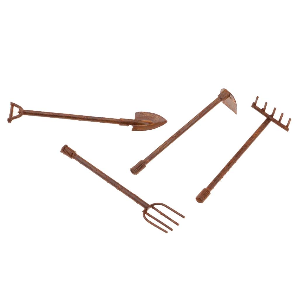 3pcs 1:12 Dollhouse Miniature Shovels Pitchfork Barn Fairy Gardening Tools xz