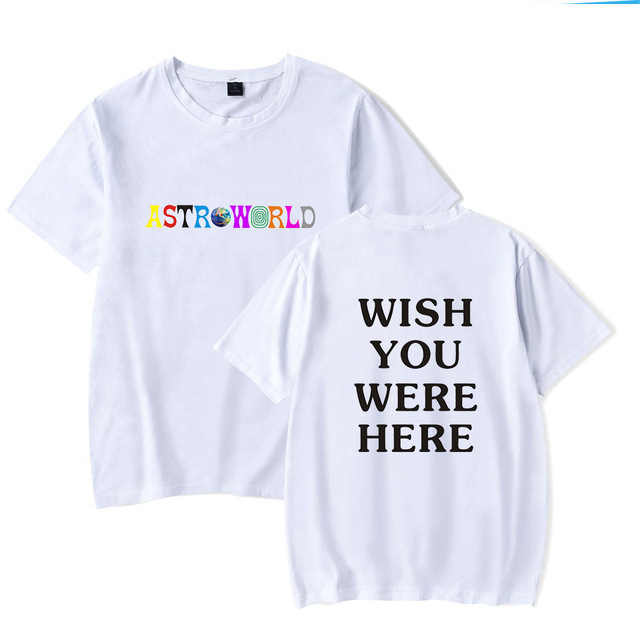 새로운 패션 힙합 T 셔츠 남성 여성 Travis Scotts ASTROWORLD 하라주쿠 티셔츠 당신이 여기에 있었으면 좋겠다 Letter Print Tees Tops