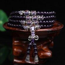 新ファッション6ミリメートル構成紫水晶ビーズチベット仏教108数珠ビーズネックレスひょうたんマラ祈りのブレスレット瞑想