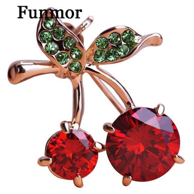 Mewah Pernikahan Red Cherry Perhiasan Emas-Warna Kristal Aksesoris Bros Korsase Topi Syal Klip Jilbab Pin untuk Wanita Anak