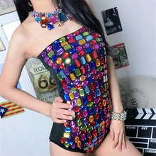 Night club bar Female singer stage costume Ds costume New DJ collar dance costume Colorful diamond jumpsuit(China)