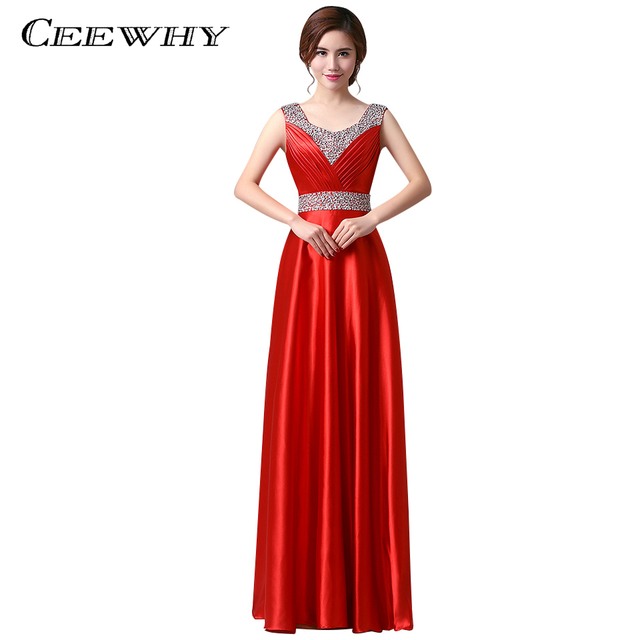 CEEWHY Satin Gold Evening Dress Long 2018 Prom Dresses Robe De Soiree  Floor-length Party Elegant Evening Gowns Crystal Plus Size 164626b43923