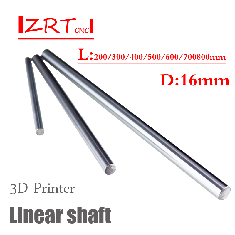3D printer rod shaft 16mm linear shaft 200mm 300mm 400mm 500mm 600mm 700mm chrome plated round rod shaft CNC parts kande bearings 1pc d 16mm 3d printer rod shaft 16mm linear shaft 230mm chrome plated rod shaft cnc parts 100 700mm
