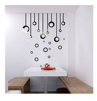 Free shipping round and long pieces combined wall sticker , 3D acrylic dining room wall sticker decoration