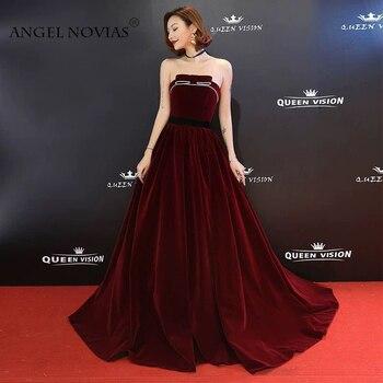 0a25ddc05002e2e Angel Novias длинный плюс размер бордовый бархат для красной дорожки,  популярное платье 2018 длина до пола платье для выпускного вечера