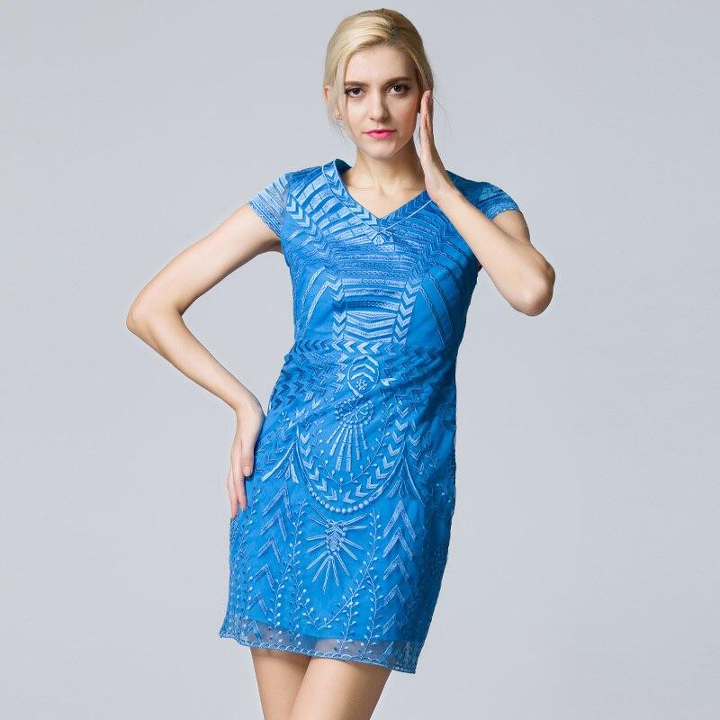 Robes La 2xl Taille Bleu Sexy Fille Couleur Cour Vente cou Pur Haute Net Robe De Élégant Chaude S Kaki Et khaki Qualité Plus Blue V Partie UMzpSVq