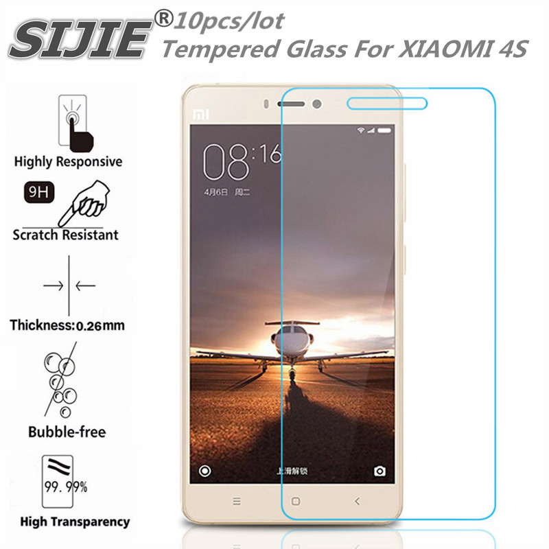 10pcs Tempered Glass For XIAOMI 4S MI4S MI 4S 5 inch Screen protective cover smartphone case 9H on toughened crystals thin clear