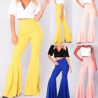 Missufe Hight cintura una línea Pantalones anchos para las mujeres 2017 otoño moda Pantalones campana vintage Slim streetwear para las señoras