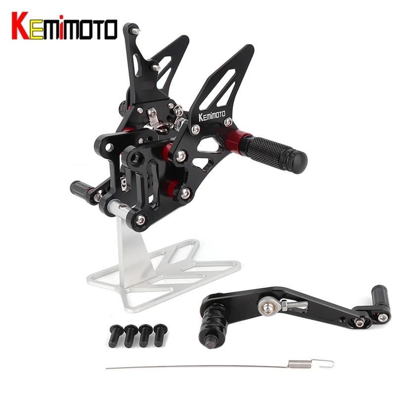 KEMiMOTO Accessories CNC Adjustable Rearset For Suzuki GSXR1000 GSX-R1000 GSXR 1000 A R L7 2017 2018 Footrest Foot Rest Pegs ABS