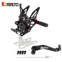 KEMiMOTO Adjustable Rearset For Suzuki GSX R1000 GSXR1000 GSXR 1000 A R L7 2017 2018 Accessories CNC Footrest Foot Rest Pegs ABS