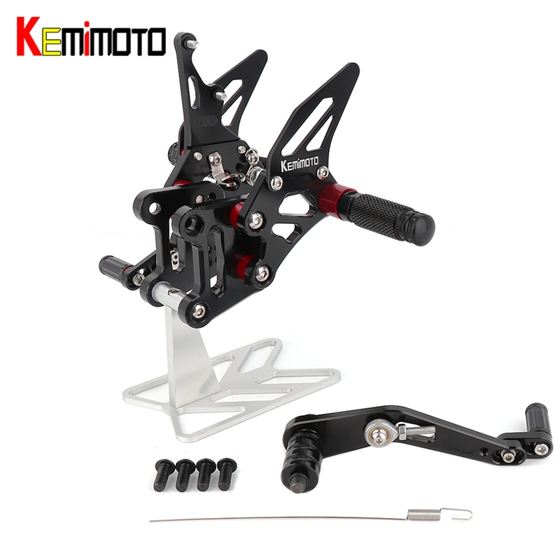 KEMiMOTO For Suzuki GSX-R1000 GSXR1000 GSXR 1000 A R L7 2017 Accessories CNC Adjustable  Rearset Footrest Foot Rest Pegs ABS