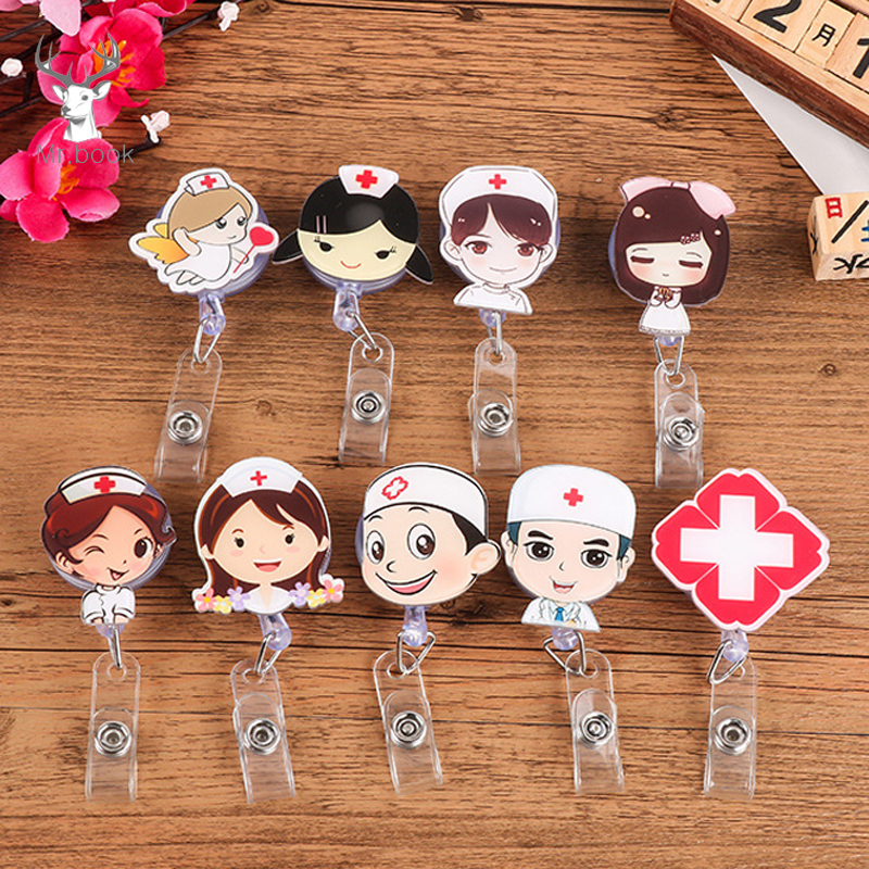 Cute Cartoon Nurse Doctor Shape Retractable Badge Reel Kawaii Students Nurse Exhibition Pull Key ID Name Card Badge Holder