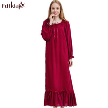 Fdfklak M XXLプラスサイズ女性ナイトウェア春秋の新綿ナイトガウンナイトドレスのnightiesパジャマQ1469