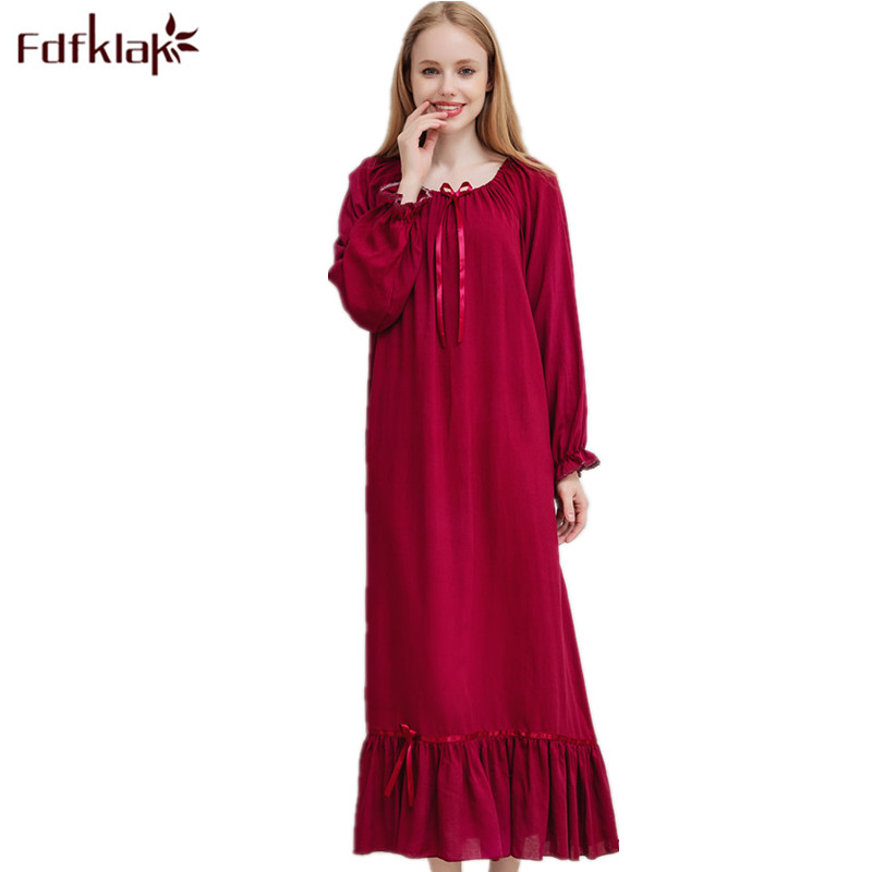 Fdfklak M-XXL Plus Size Women Nightwear Spring Autumn New Cotton Long Nightgown Night Dress Nighties For Women Sleepwear Q1469