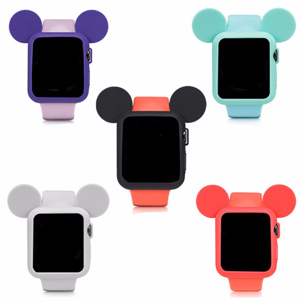 CRESTED Cute cartoon watch protector For Apple Watch case 42mm/38mm iWatch case 3/2/1 Mouse ears Soft Silicone cover shell series 1 2 3 soft silicone case for apple watch cover 38mm 42mm fashion plated tpu protective cover for iwatch