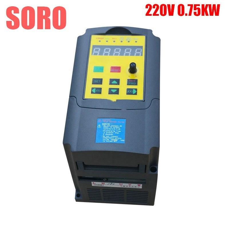 Convertisseur de fréquence CE 220 V 0.75KW 750 W entrée monophasé convertisseur de fréquence de sortie 3 phases pour les onduleurs VFD d'entraînement de moteur à courant alternatif