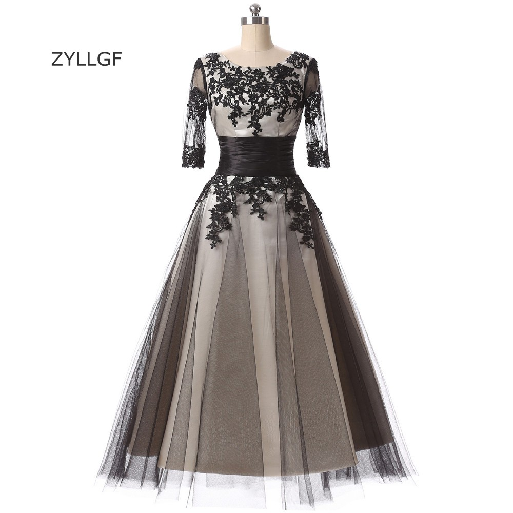 ZYLLGF Fast Delivery   Bridesmaid     Dresses   A Line O Neck Tea Length Half Sleeve Wedding Party   Dress   With Appliques Q14