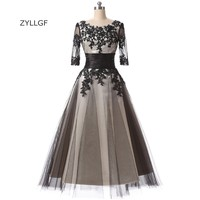 ZYLLGF Fast Delivery Prom Dresses A Line O Neck Black Prom Gown Tea Length Half Sleeve