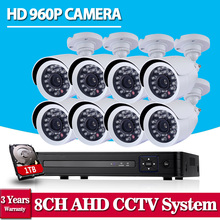 Home Security HD 1080N 8CH DVR 8PCS 1.3MP 960P AHD High Resolution CCTV Camera System Video Surveillance Kit 1TB HDD