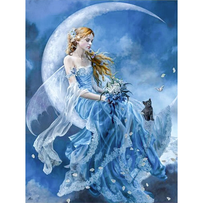 DIY 5D Diamond Mosaic Handmade Diamond Painting Cross Stitch Kits Diamond Embroidery Rhinestones Arts Moon Fairy KBL image