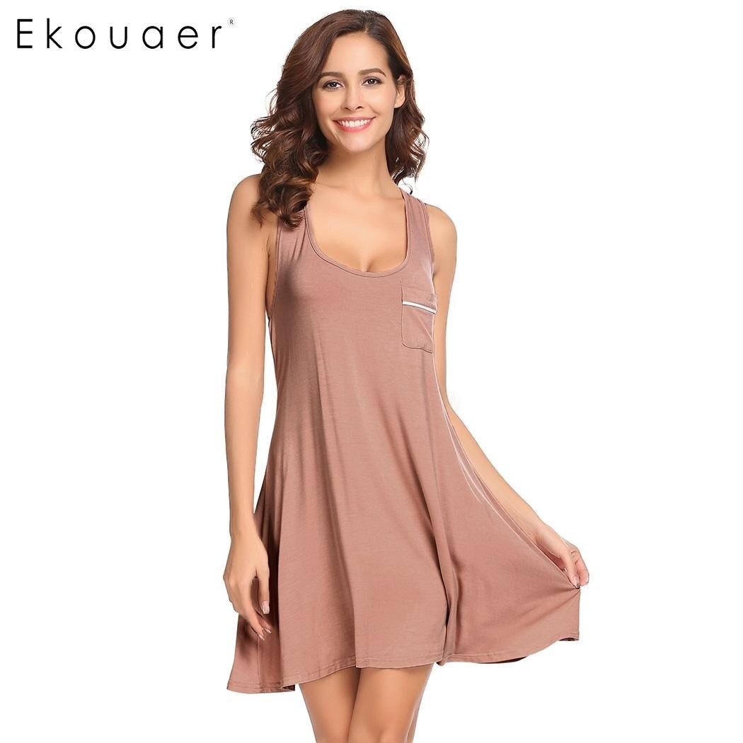 Ekouaer Women Sleepwear Round Neck Sleeveless Loose Nightgown Racerback Tank Sleep Dress Plus Size S M L XL XXL Female Nightie