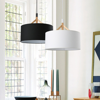 Modern Minimalist Restaurant Fabric Lampshade Shade E27 LED Bulb Pendant Lamp Nordic Creative Round Home Deco