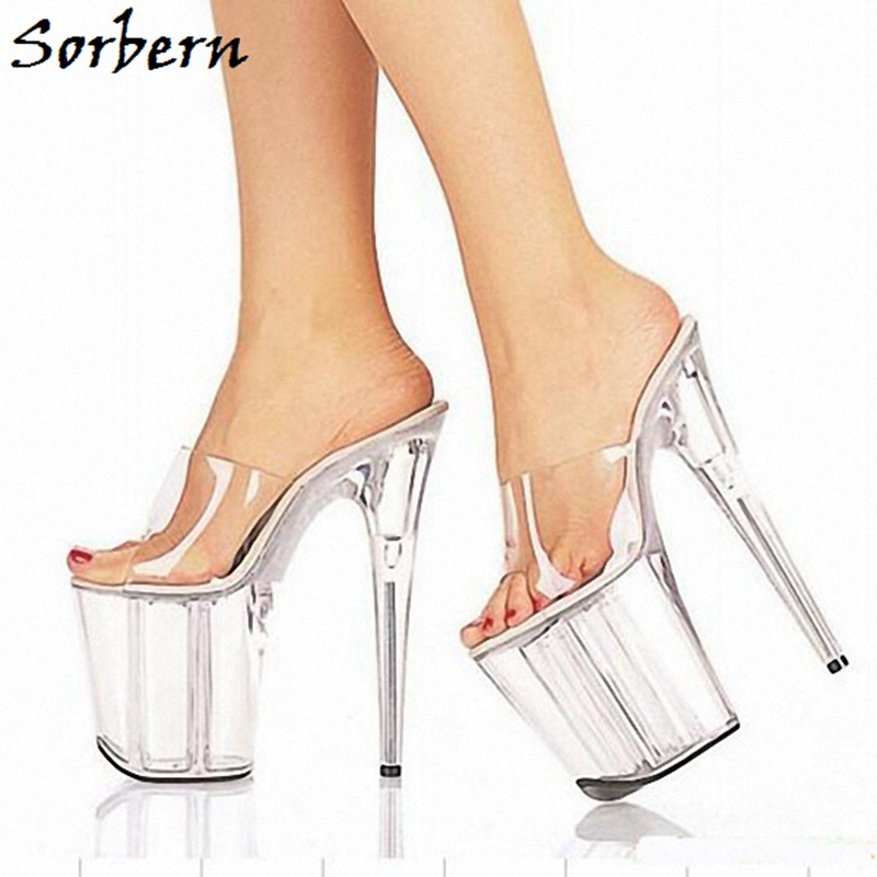 Sorbern 투명 단독 플랫폼 슬리퍼 사용자 정의 만든 된 색상 하이힐 여름 파티 여성 신발 크기 10 숙 녀 슬리퍼 패션-에서슬리퍼부터 신발 의  그룹 1
