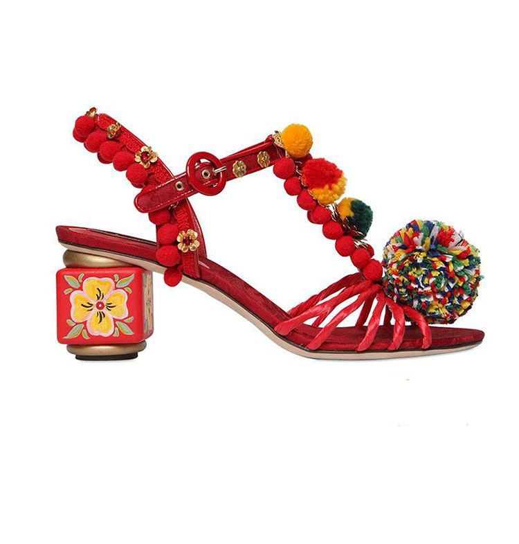 ФОТО 2017 New fashion Chinese style brand shoes flowers ankle buckle women sandals colorsl genuine leather crystal Luxury shoes 71