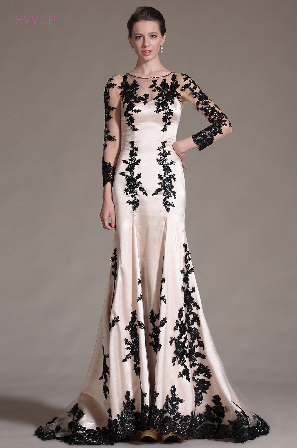 New   Evening     Dresses   2019 Mermaid 3/4 Sleeves Appliques Beaded Long Formal Party   Evening   Gown Prom   Dresses   Robe De Soiree