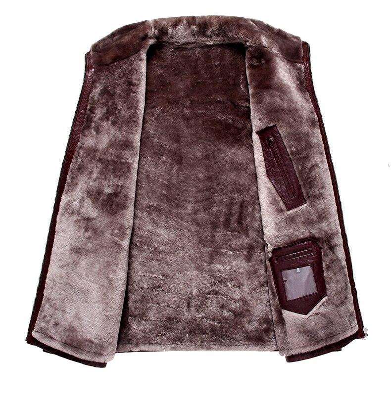 HTB1smmrbyLrK1Rjy1zdq6ynnpXa9 Men Genuine Leather jackets Brand 2019 New Men Wool Liner Winter Warm Coats Luxury Male Cow leather Outerwear