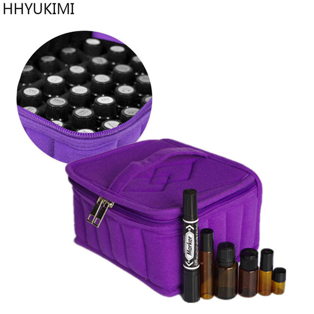 Hhyukimi Velvet Travel Storage Bag With Double Zipper For 16 Bottles Essential Oils Nail Polish