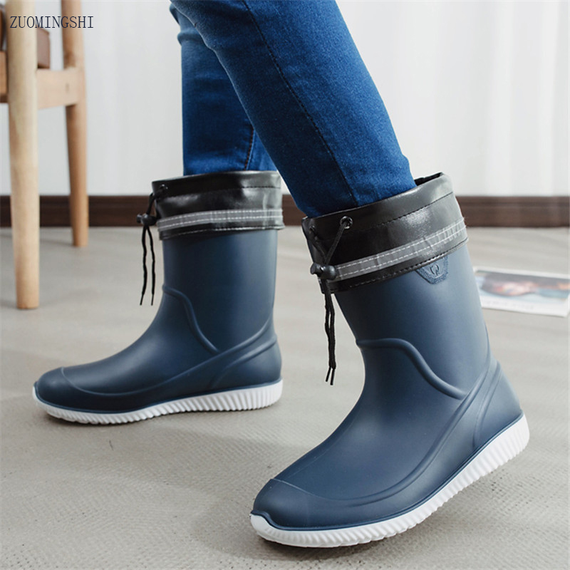 Rubber Round Toe Ankle Rain Boots Men Winter Fishing Boots With Liner Bot  Non-slip Car Wash Shoes  Work Shoes
