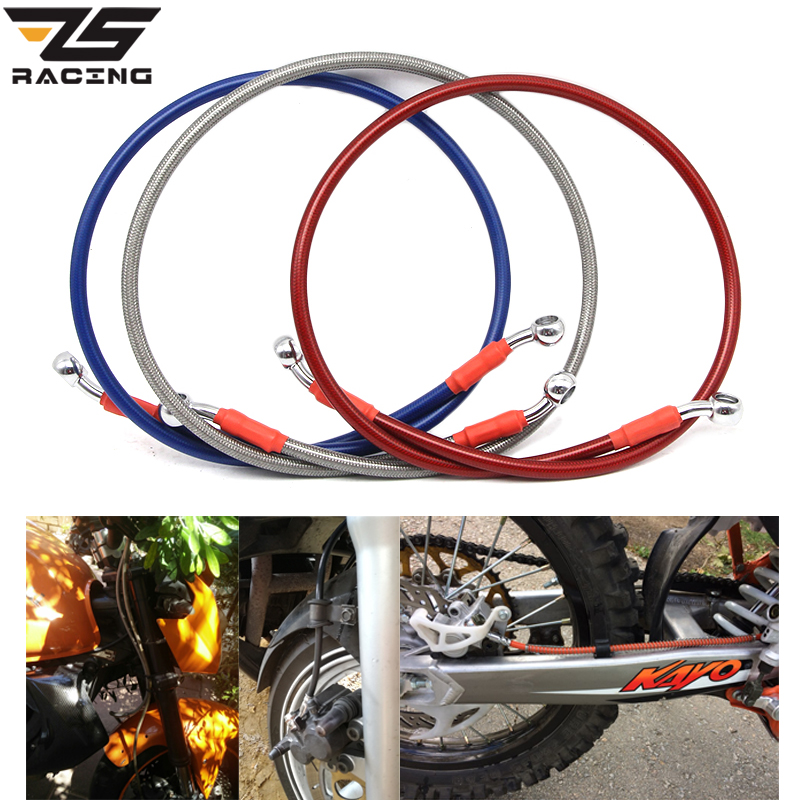 ZS Racing Universal 800mm-1400mm Motorcycle Dirt Bike Braided Steel Hydraulic Reinforce Brake line Clutch Oil Hose Tube motorcycle 500mm 2000mm braided steel hydraulic reinforced brake clutch radiator oil cooler hose line pipe tube 28 degree banjo