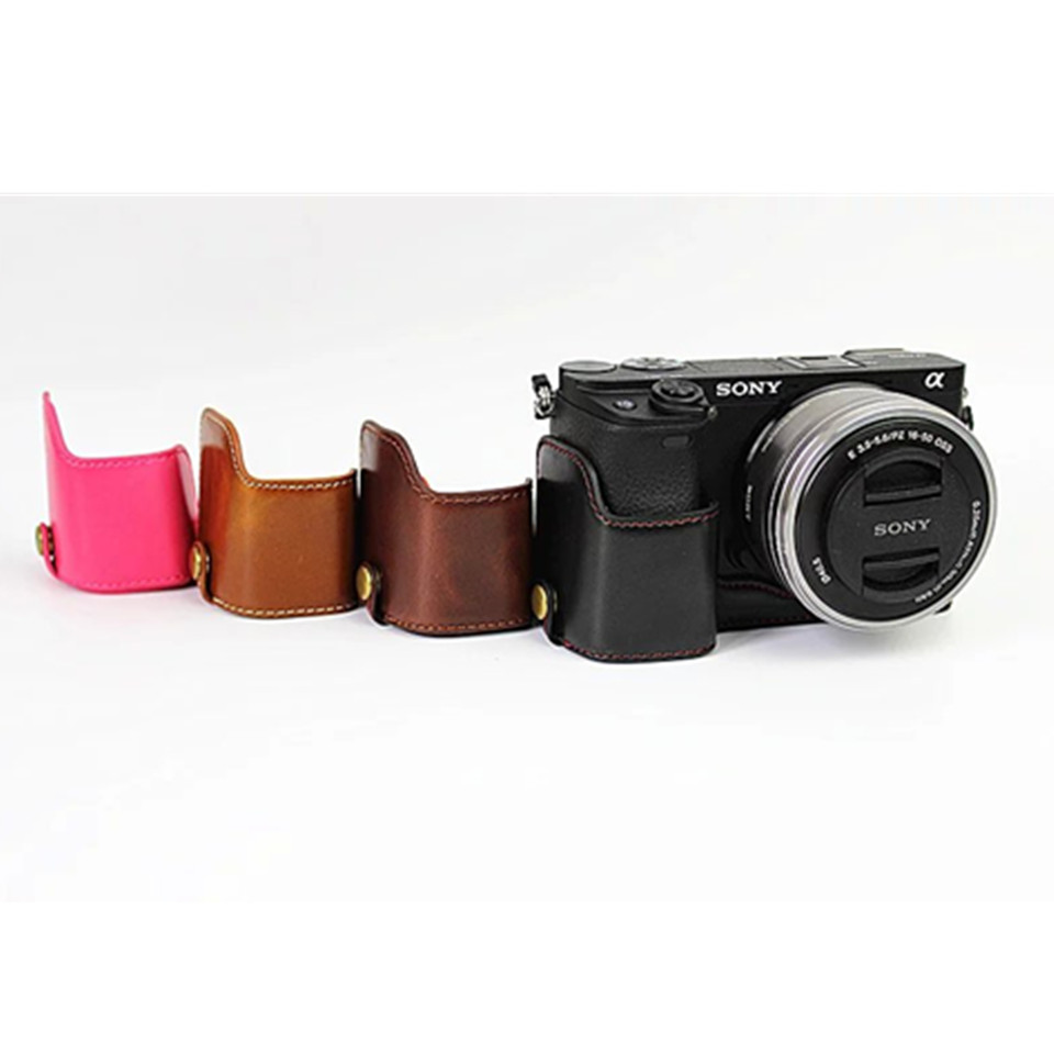 Camera Bag Case For Sony A6300 A6000 PU Leather Half Body Set
