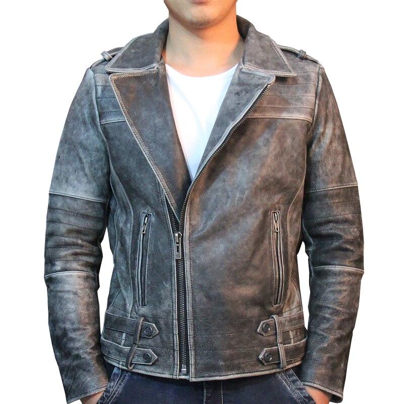 HARLEY DAMSON Vintage Black Men Genuine Bikers Leather Jacket Oblique Zipper Plus Size 3XL Slim Fit Cowhide Riding Leather Coat