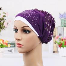 New Design Islamic Scarves Wraps Hijab caps Womens Muslim Inclusive Cap Crystal Flower Muslims Hat hijab undercaps black